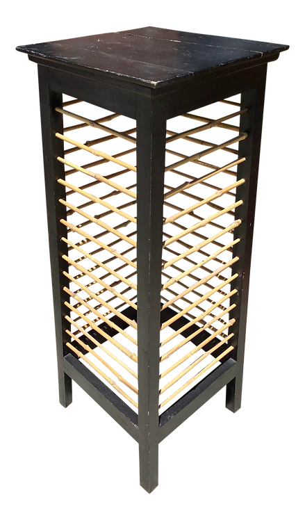 Asian Bamboo and Painted Wood Pedestal