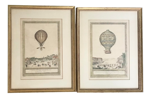 French 18th C Lithographs of Balloon Air Scenes - a Pair