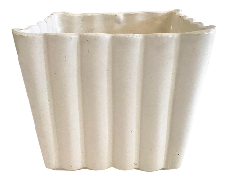 Faux Bamboo White Ceramic Cachepot