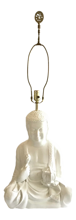 White Glazed Meditating Buddha Ceramic Table Lamp