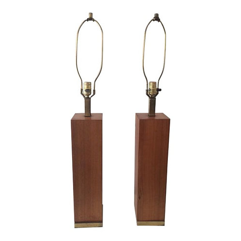 Mid-Century Square Table Lamps - a Pair