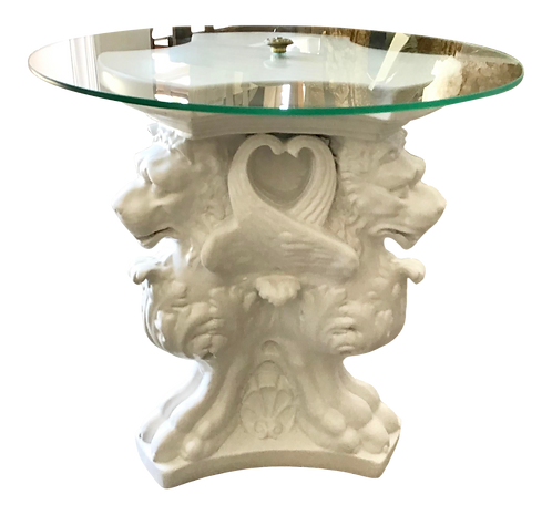 Hollywood Regency Cocktail Table With Griffins Carved Base