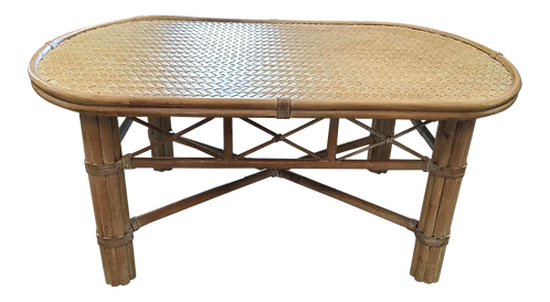 McGuire Oval Rattan Coffee Table