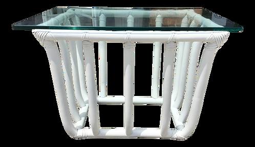 Boho Chic White Rattan Rectangular Side Table