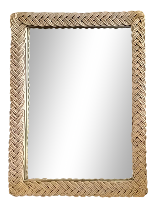 Bielecky Brothers Boho Chic Woven Rattan White Washed Mirror