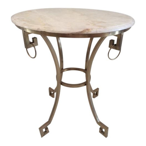 Todd Hase Christelle Gueridon Onyx Top Side Table