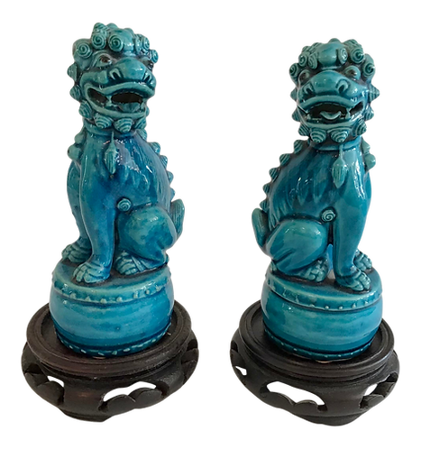 Small Turquoise Foo Dogs Figurines - a Pair