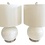 Thumbnail: White Modern Glass Lamps With Metal Bases - a Pair