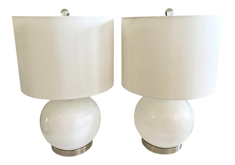 White Modern Glass Lamps With Metal Bases - a Pair