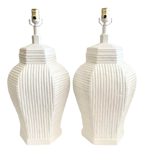 Plaster Faux Rattan Ginger Jar Table Lamps - a Pair