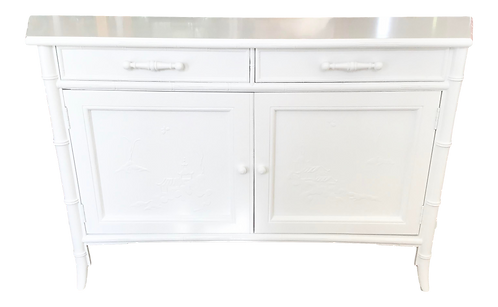 Faux Bamboo Chinoiserie Small Sideboard in Fresh White Lacquer