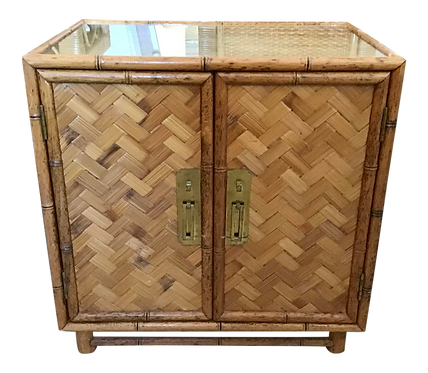 Boho Chic Bamboo Side Table 2 Door Cabinet With Glass Top