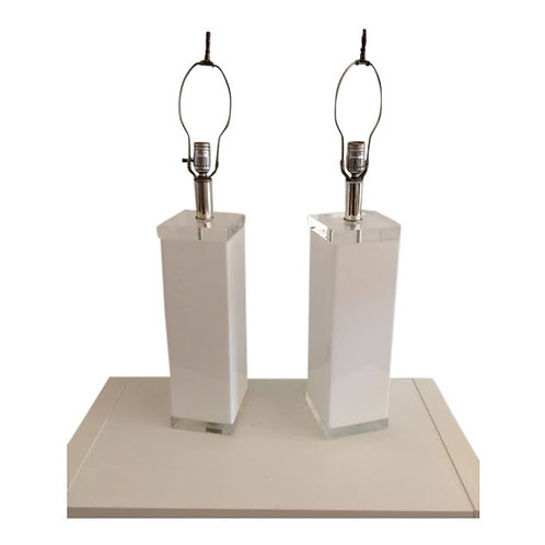 1970s Rectangular White LuciteTable Lamps With Clear Lucite Top and Base - a Pai