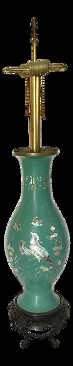 Asian Green Enamel on Metal Vase Table Lamp