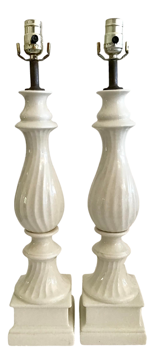 Hollywood Regency White Ceramic Table Lamps - a Pair