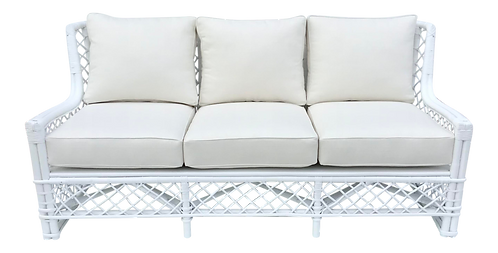 Ficks Reed Sofa in Fresh White Lacquer and Todd Hase Textiles