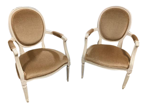 French Louis XVI Fauteuils in Todd Hase Silk Mohair - a Pair