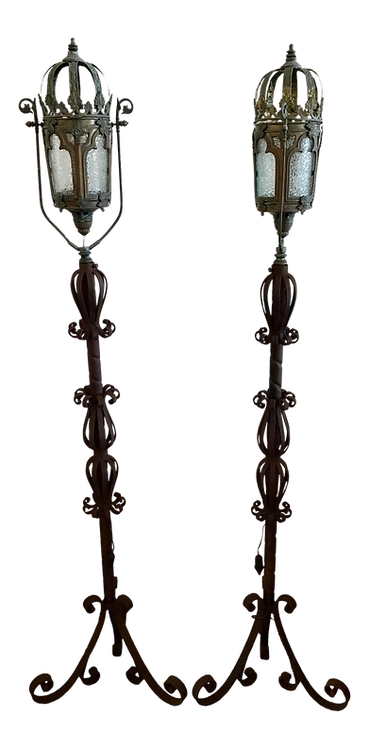 Venetian Iron Floor Lamps - a Pair