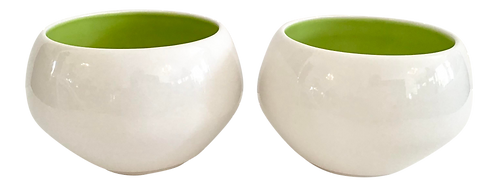 Modern Ceramic White Bowls With Green Interior - a Pair