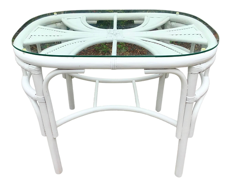 Boho Chic Rattan White Pencil Reed Side Table