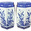 Thumbnail: Blue and White Hexagon Garden Seats With Old Repairs - a Pair