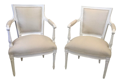 French Louis XVI Fauteuils With New Todd Hase Textiles - a Pair