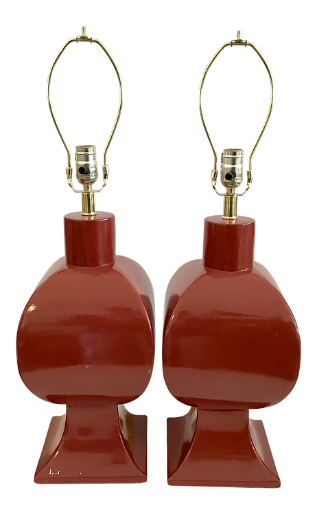 Vintage MidCentury Red Ceramic Table Lamps - a Pair