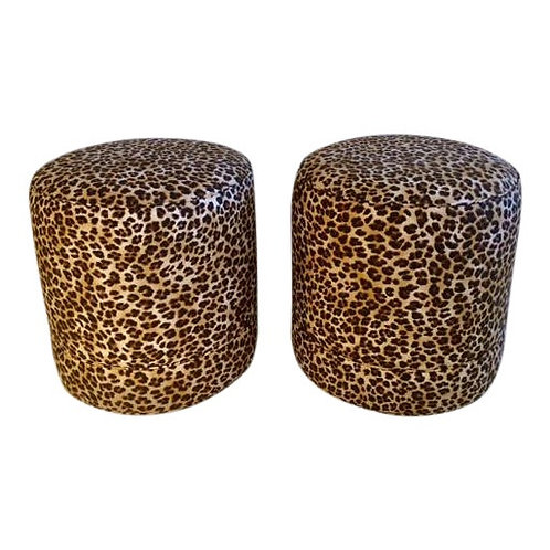 Todd Hase Namesake Leopard Print Ruth Drum Ottomans- A Pair