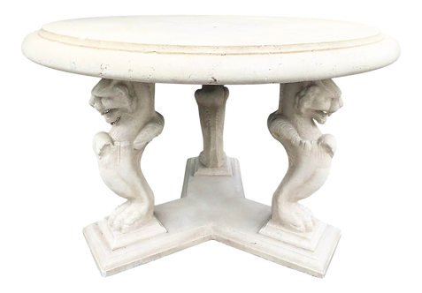 Classical Stone Round Patio Table on a Pedestal