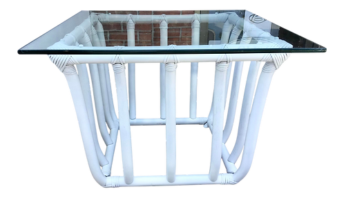 Boho Chic White Rattan Square Side Table