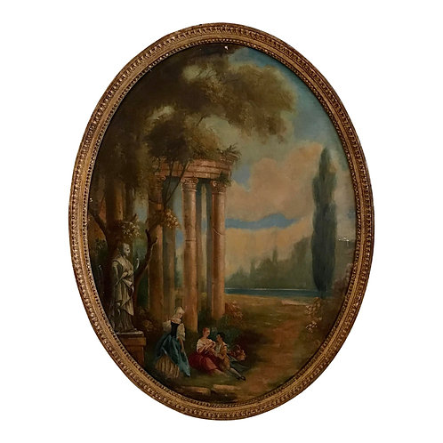 French Oval Oil Painting of Garden Scene