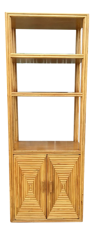 Pencil Reed Rattan Etagere With Two Door Storage