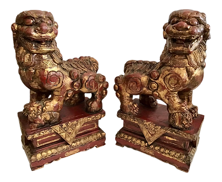 Foo Dogs Carved in Wood - a Pair