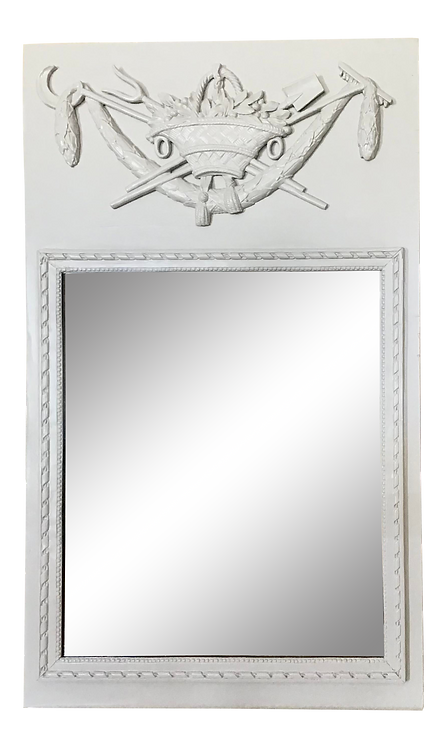 French Boiserie Mirror in Gray Lacquer