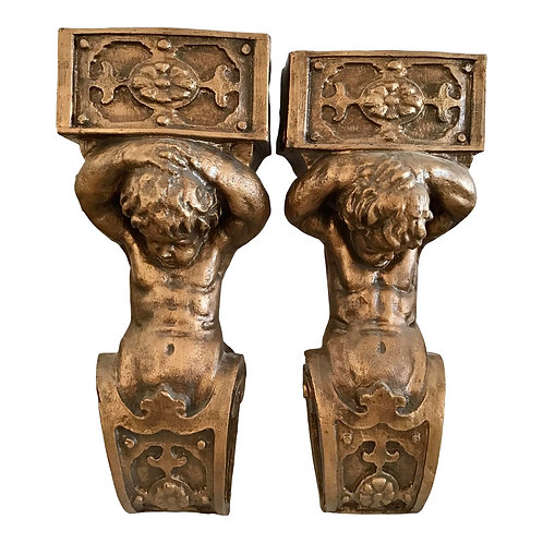 Gold Faux Architectural Brackets With Cherubs - a Pair