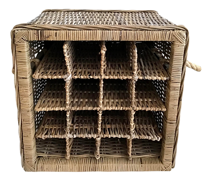 Boho Chic Rattan Wine Caddy Basket