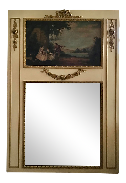 Classic French Boiserie Mirror With Carved Frame and Oil Painting