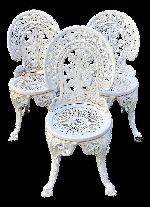 French Iron White Garden Chairs - Set of 3
