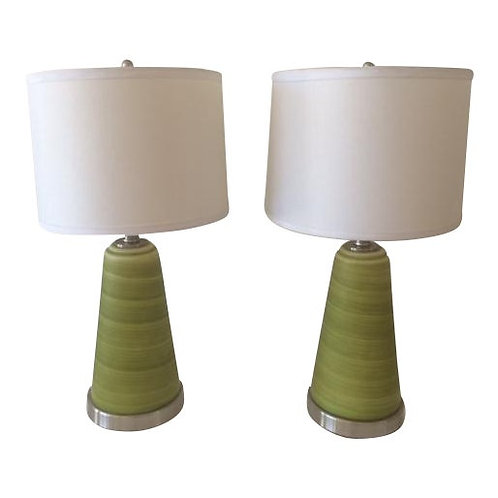 Vintage Glass Table Lamps With Hand Painted Banana Leaf Print - A Pair