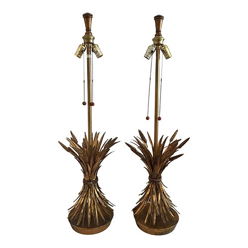 Vintage Marbro Gilt Wheat Metal Table Lamps- a Pair