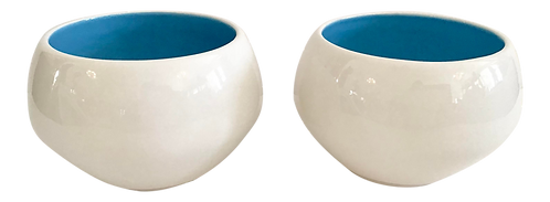 Modern Ceramic White Bowls With Turquoise Interior - a Pair