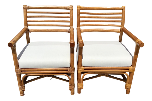 Boho Chic Rattan Arm Chairs With New Sunbrella Upholstery - a Pair