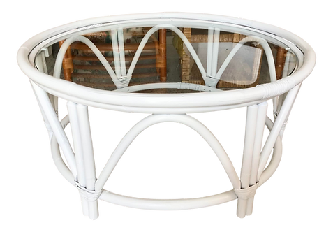 Large Round Ficks Reed White Rattan Coffee Table