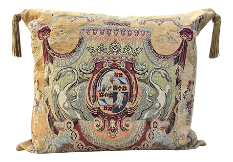 French Square Tapestry Pillow of Swan Coat of Arms