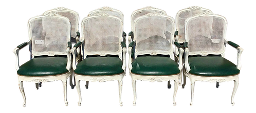 Classic French Louis XV Fauteuil Arm Dining Chairs - Set of 8