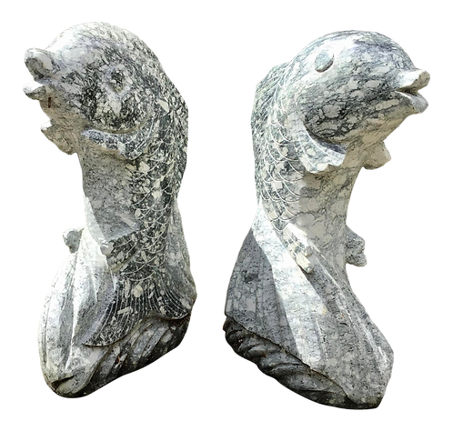 Dolphin Sculpture Carved Marble - a Pair