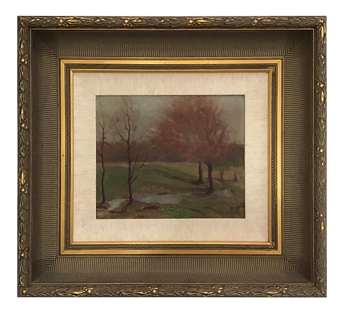 "1950s French ""Fall"" Landscape Painting"