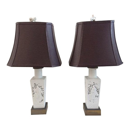 Chinoserie Table Lamps With Leather Shades and Floral Porcelain Finials - a Pair