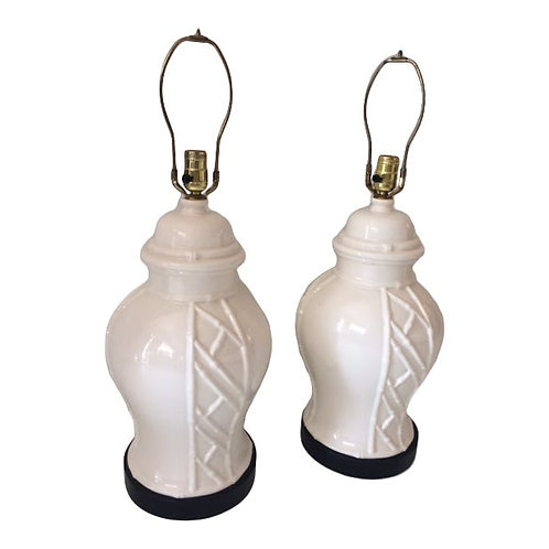 Vintage Blanc De Chine Table Lamps - a Pair