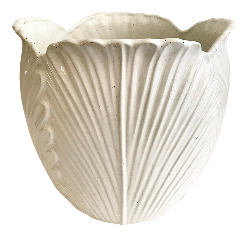 Blanc Leaf White Ceramic Cache Pot